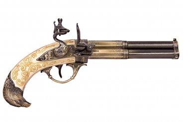 Pistolet 3 canons, France S. XVIII
